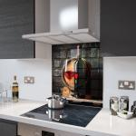 Wine and Barrel - Glass Splashback - 80cm Wide x 80cm High