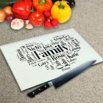 Glass Chopping Board - Word Collage