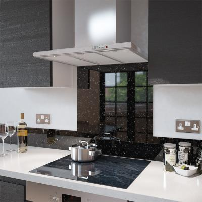 Black Cosmos Glass Splashback - 100cm Wide x 40cm High