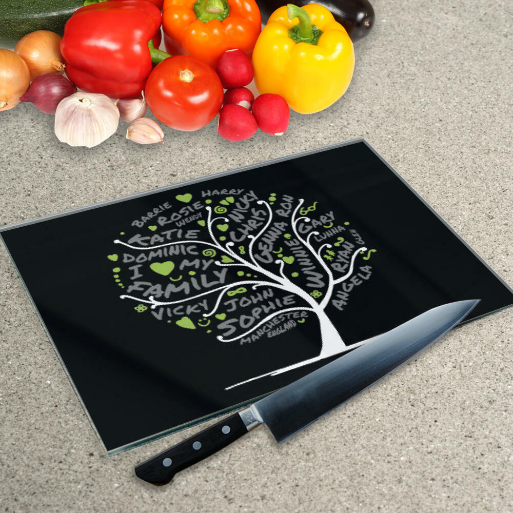 Votre Propre Mot Collage sur un verre à découper Planche en Noir Lime arbre généalogique