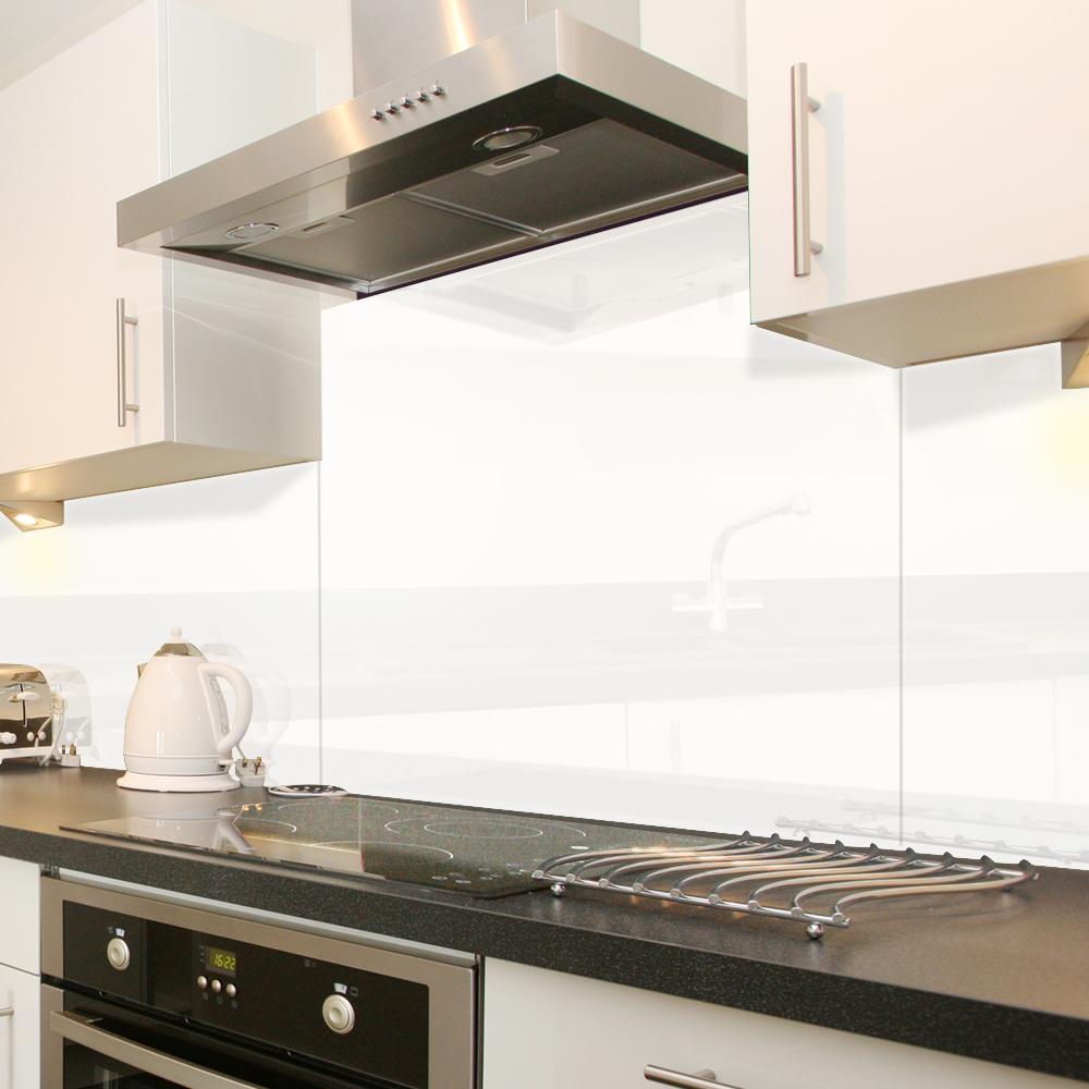 Cr dence de cuisine verre blanc haute brillance 60x50cm for Credence verre trempe blanc