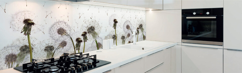 image of a kitchen with dandelion flower design digitally printed glass splashback