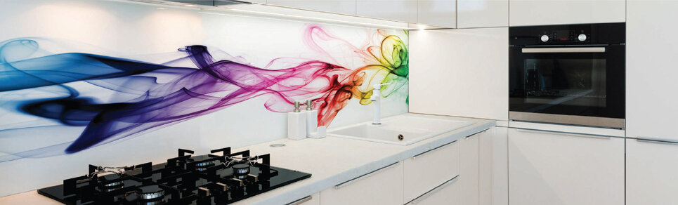 image of a kitchen with a rainbow swirl digitally printed glass splashback